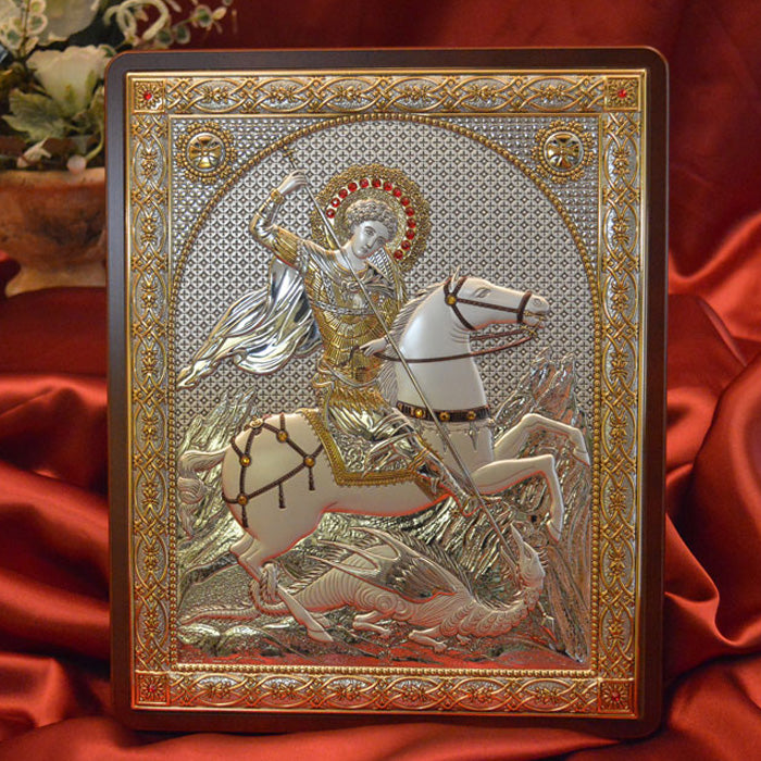 Italian Silver Greek Orthodox St George Icon