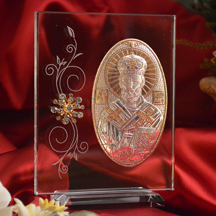 Italian Silver Greek Orthodox Saint Nicholas Icon (2 Versions)