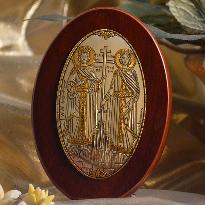 Italian Silver Greek Orthodox Saints Constantine and Helen Icon