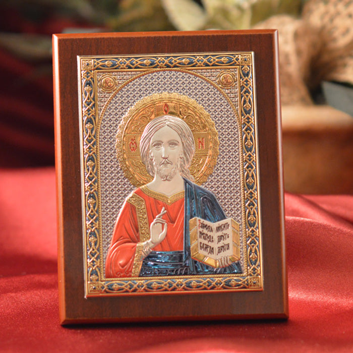 Italian Silver Greek Orthodox Pantocrator Christ Icon ( 2 Styles)