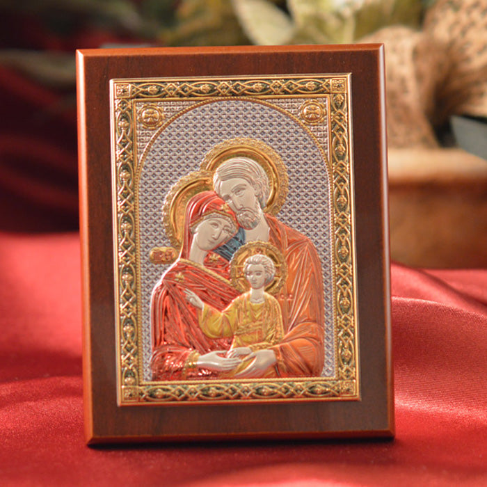 Italian Silver Greek Orthodox Holy Family Icon (2 Styles)