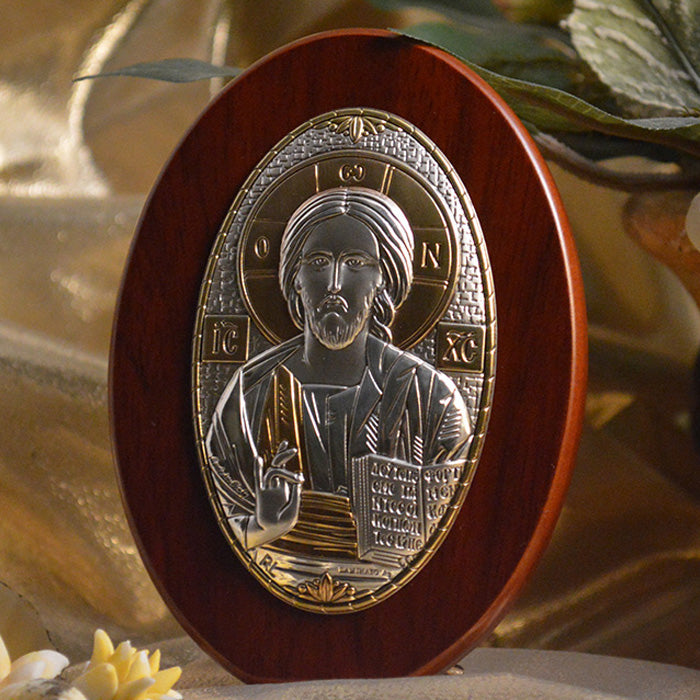 Italian Silver Greek Orthodox Christ Icon (2 Styles)