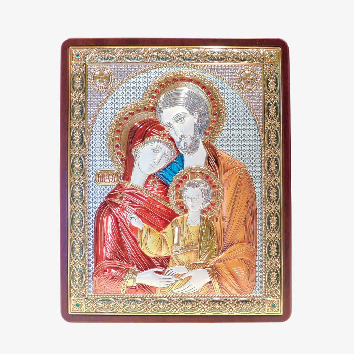 Silver/Mahogany Holy Family Icon