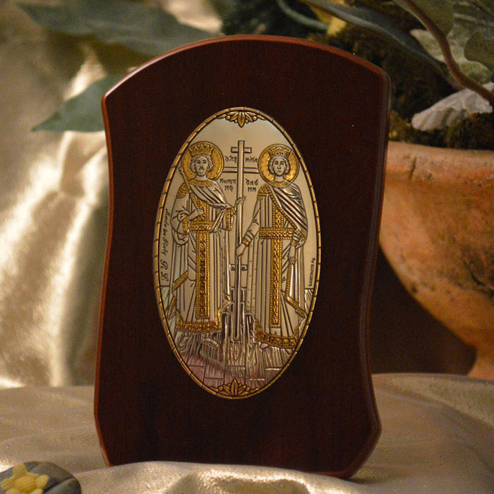 Italian Silver Greek Orthodox Saints Constantine and Helen Icon (2 Styles)