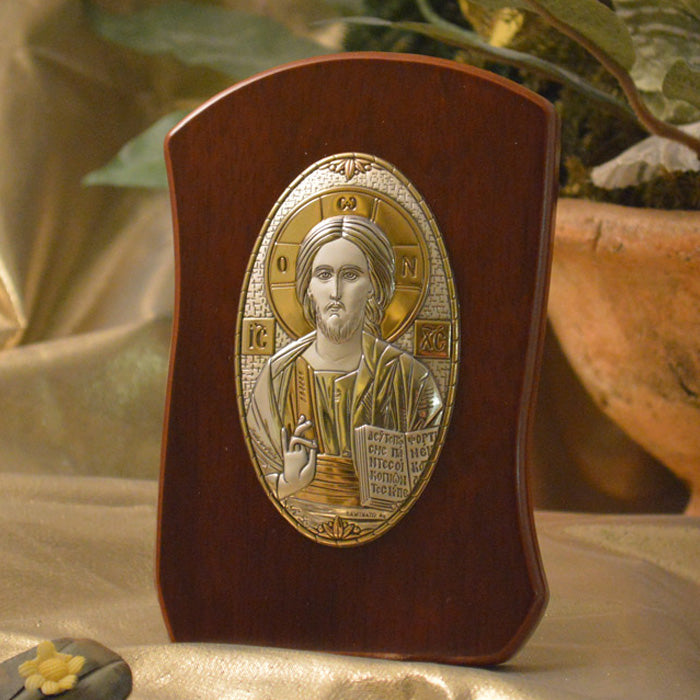 Italian Silver Greek Orthodox Christ Pantocrator Icon (2 Styles)
