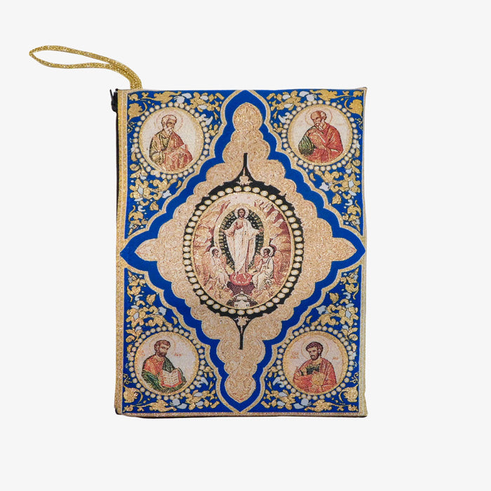 Blue Gospel Bible Book Tapestry Pouch