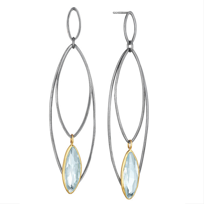 18K Yellow Gold Earrings with Blackened Silver and Hand cut Aquamarine stones