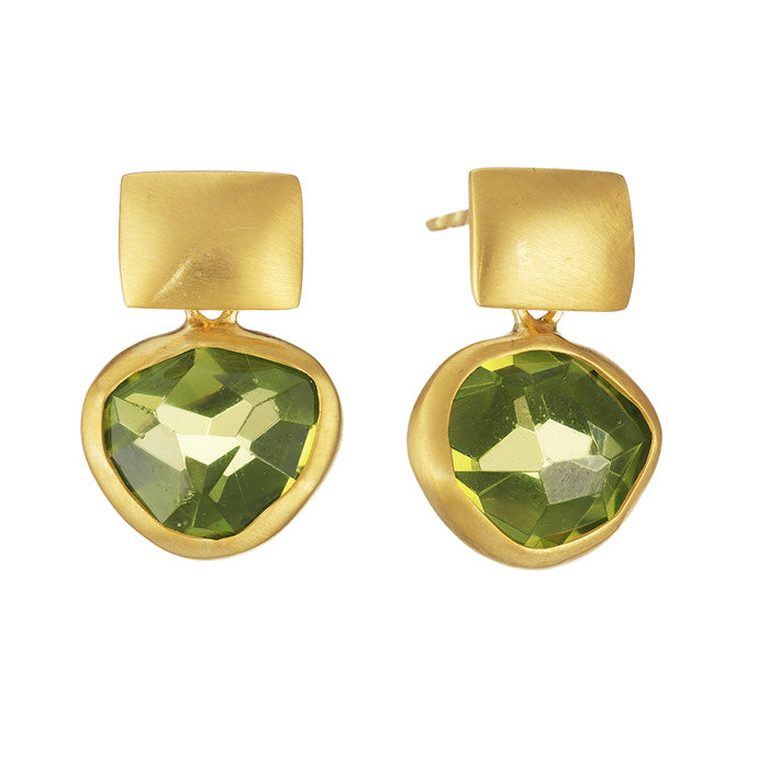 18K Yellow Gold Earrings with Hand cut Peridot or Aquamarine Stones