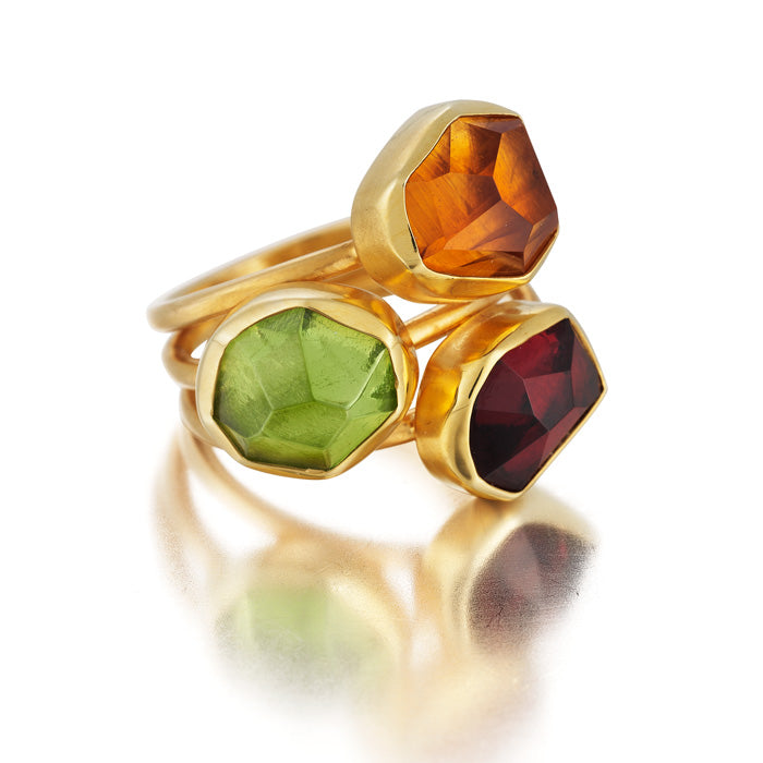 18Kt Gold Ring with hand-cut Citrine, Peridot and Rhodolite Garnet