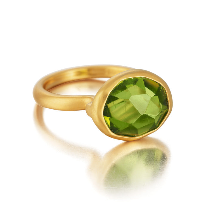 18K Gold Ring with hand-cut Fire Opal and Peridot