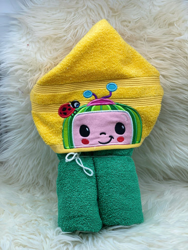 Coco melon yellow hooded towel