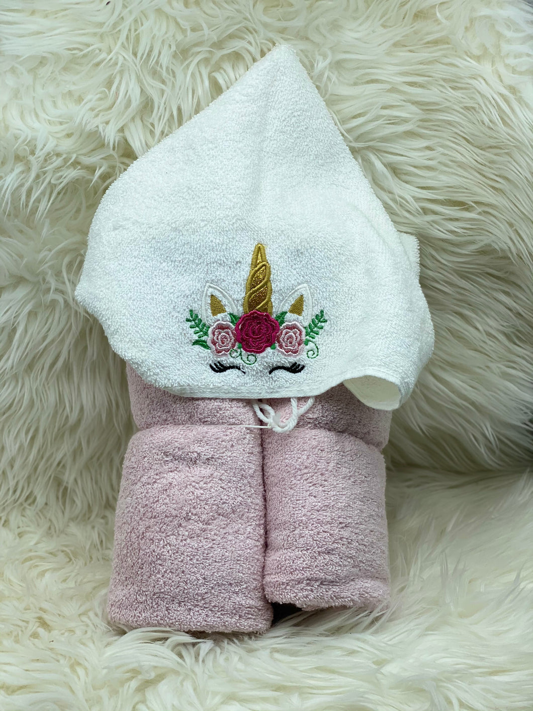 Light pink unicorn hooded towel