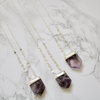 Amethyst Coin Chain Necklace