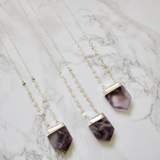 Amethyst Coin Chain Necklace - TISH jewelry