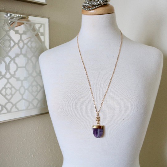 Amethyst Shield Necklace - TISH jewelry