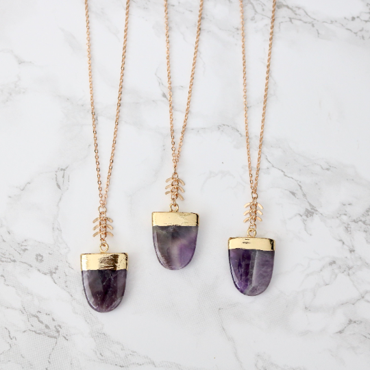 Amethyst Shield Necklace