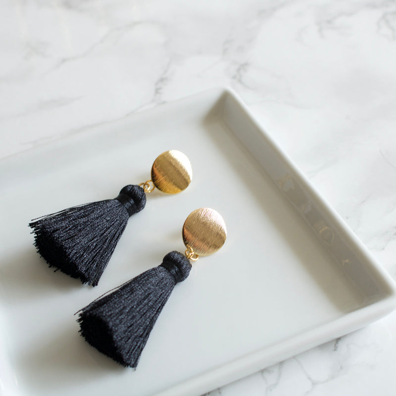 Black Short Silk Tassel Earrings