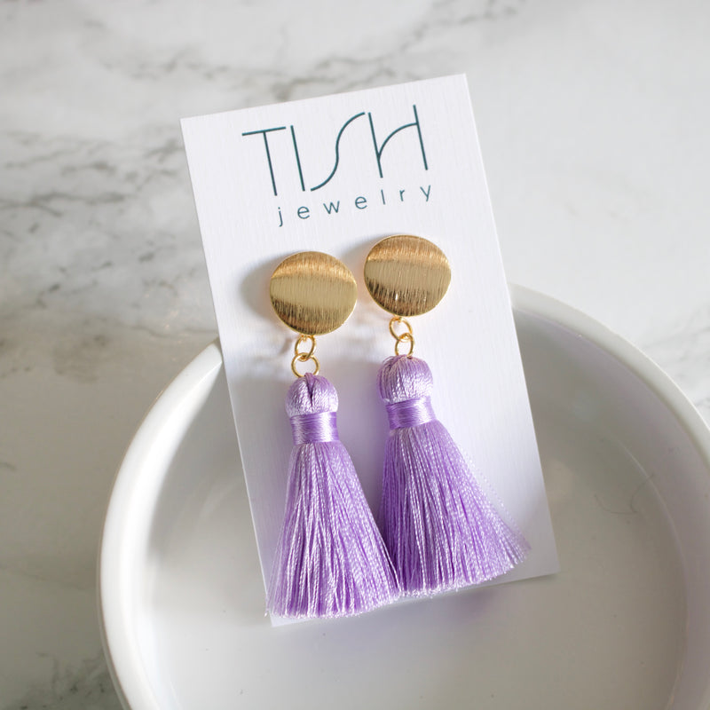 Short Purple Silk Tassel Earrings