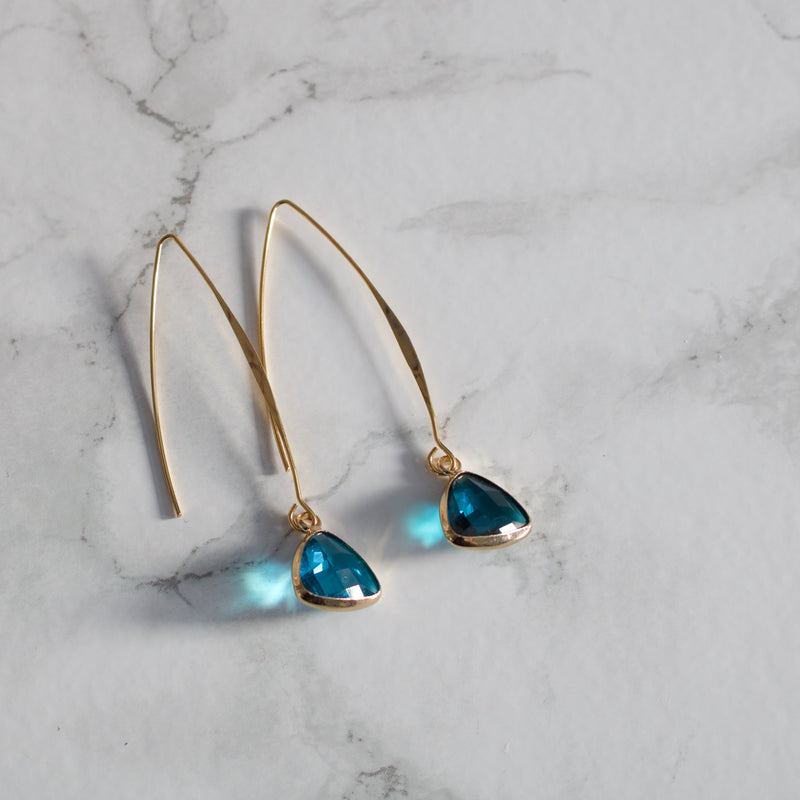 Simple Gold Glass Charm Earrings