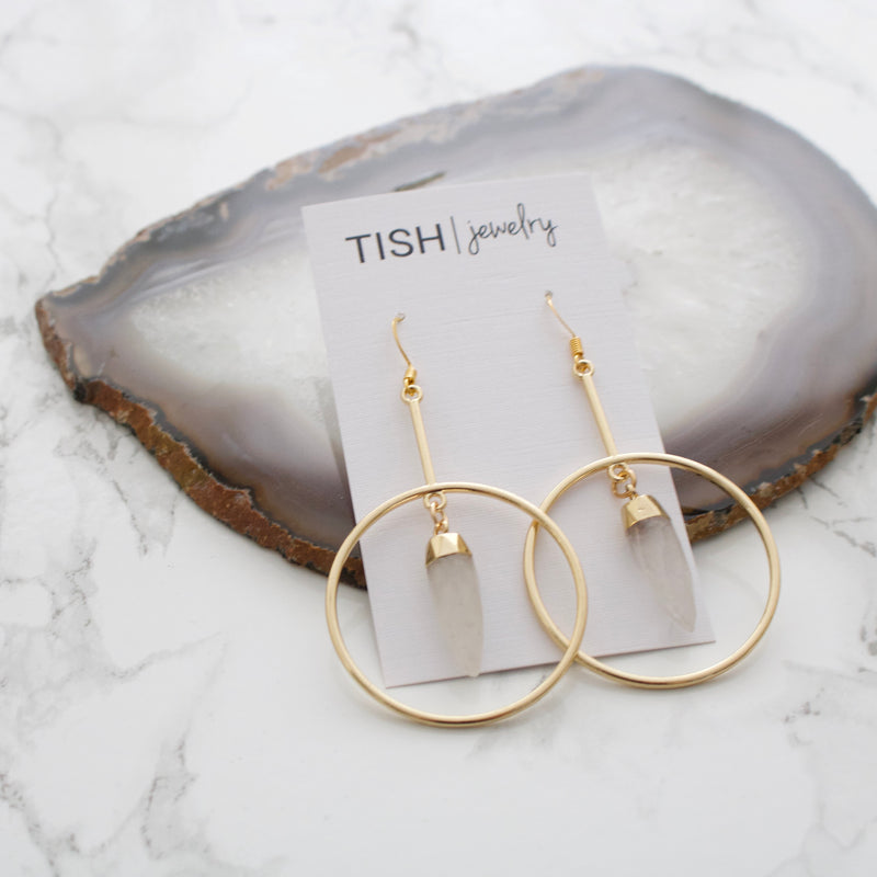 Geometric Quartz Earrings
