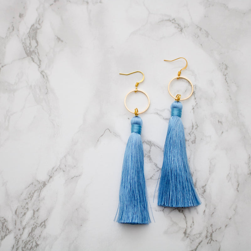 Baby Blue Long Tassel Earrings