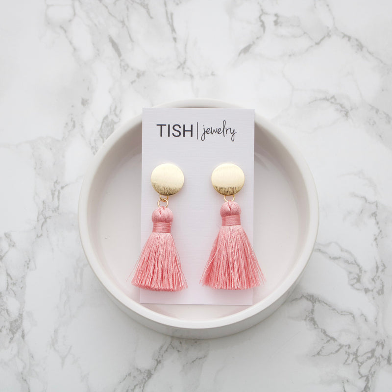Short Pink Silk Tassel Earrings