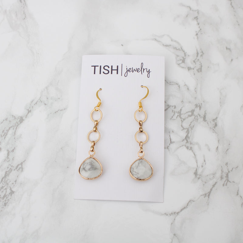 White Howlite Drop Earrings