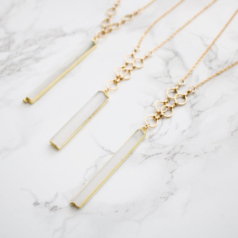 Raw Selenite Bar Necklace