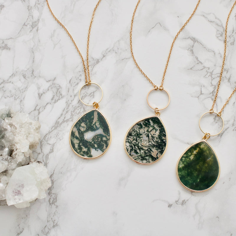 Moss Agate Teardrop Necklace