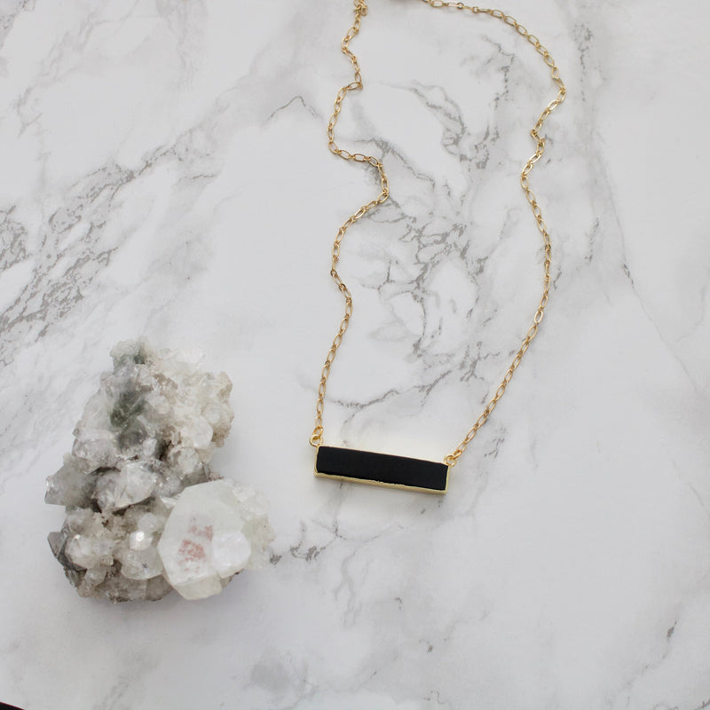 Black Agate Bar Necklace