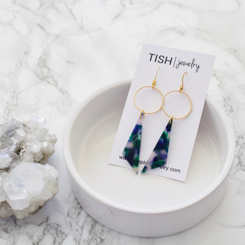 Blue Green Acetate Earrings