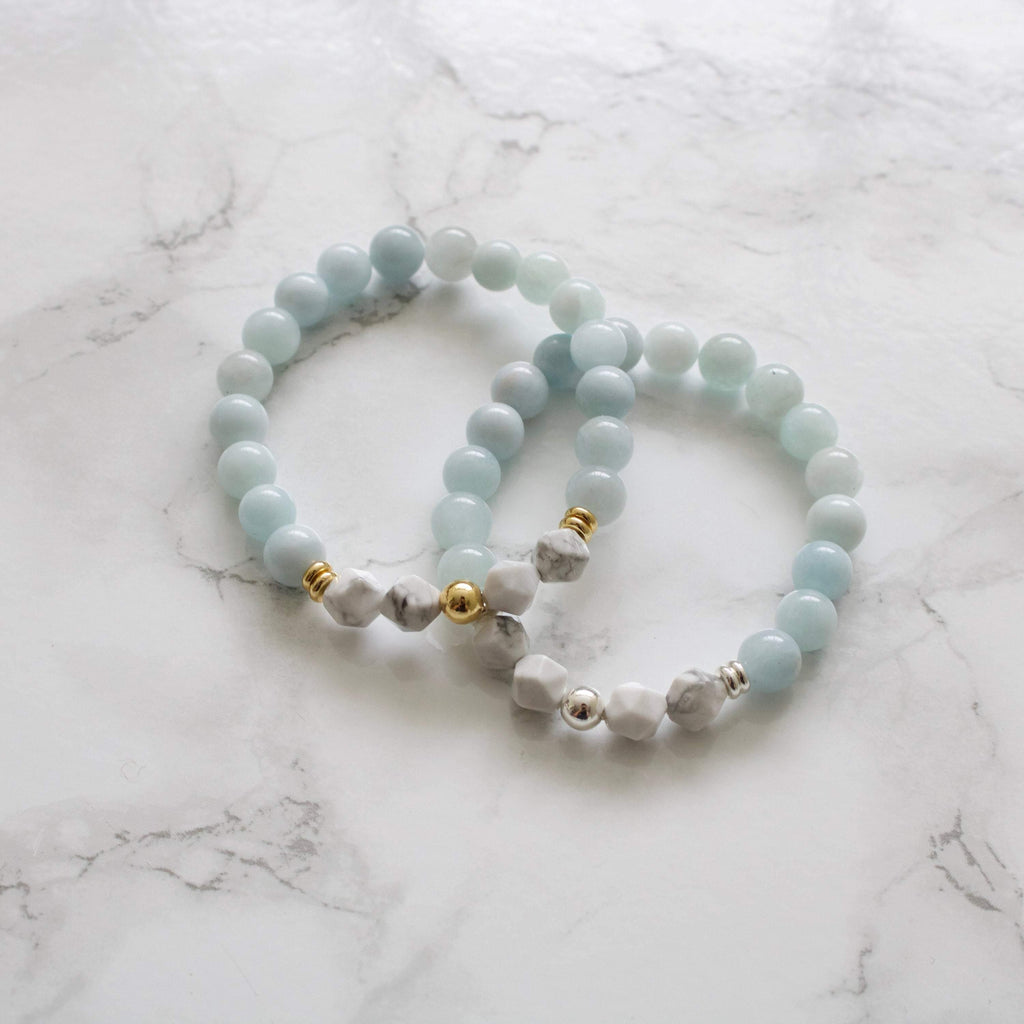 Aquamarine and Howlite Bracelet - TISH jewelry