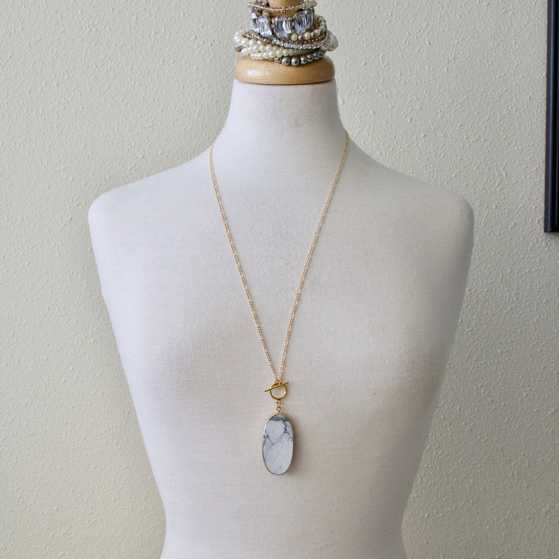 White Howlite Toggle Necklace