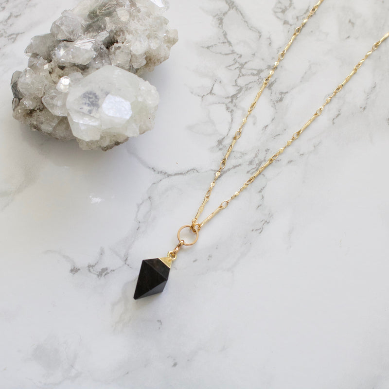 Black Agate Pyramid Necklace