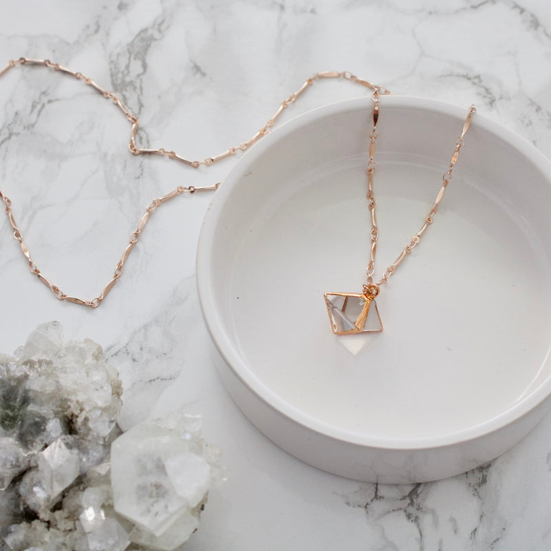 Clear Quartz & Rose Gold Pyramid Necklace