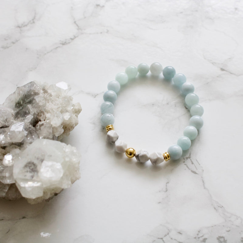 Aquamarine and Howlite Bracelet
