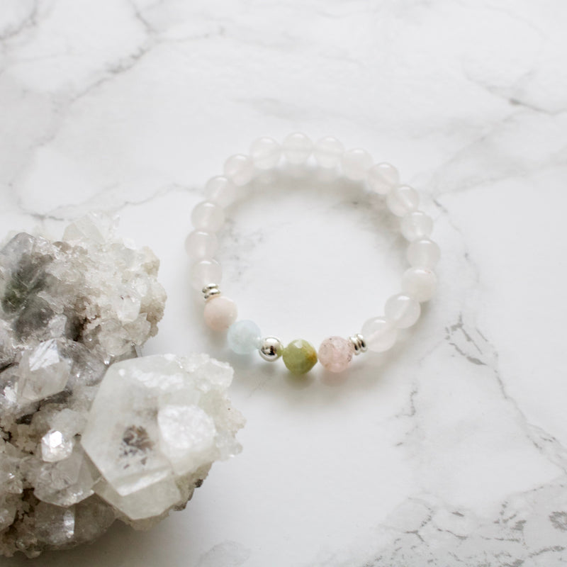 White Jade and Morganite Bracelet