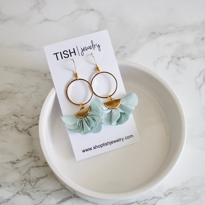 Pale Blue Flower Petal Earrings