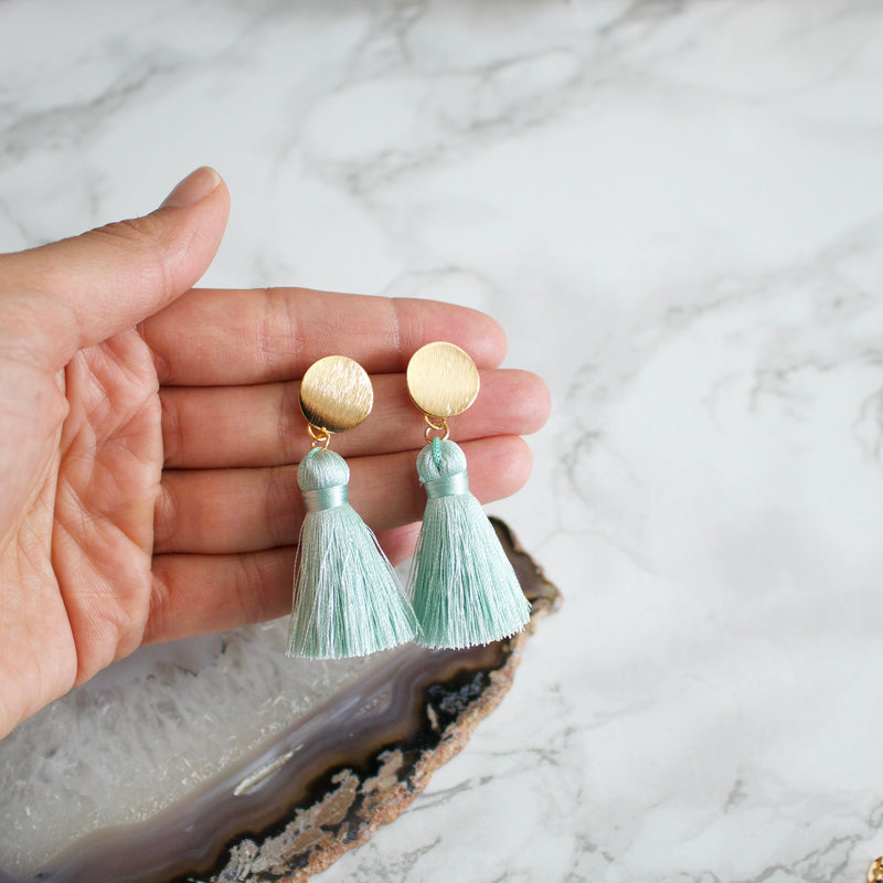 Pale Blue Silk Tassel Earrings