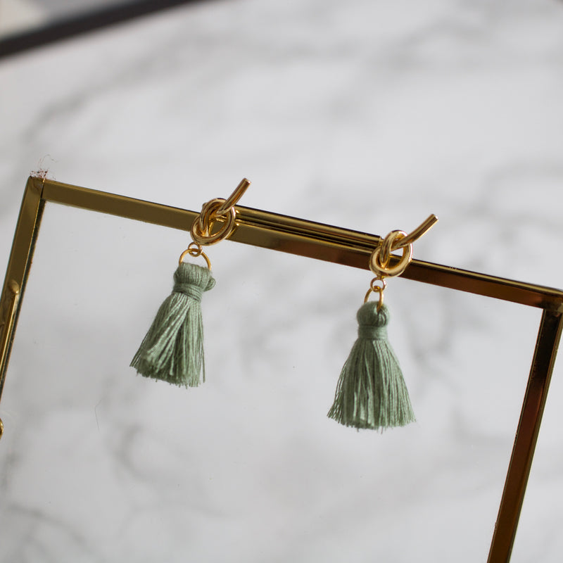 Sage Knot Tassel Earrings
