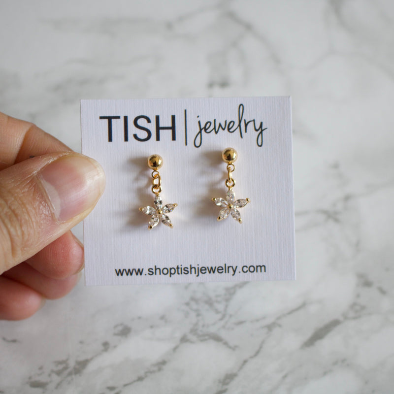 Rhinestone Flower Charm Earrings
