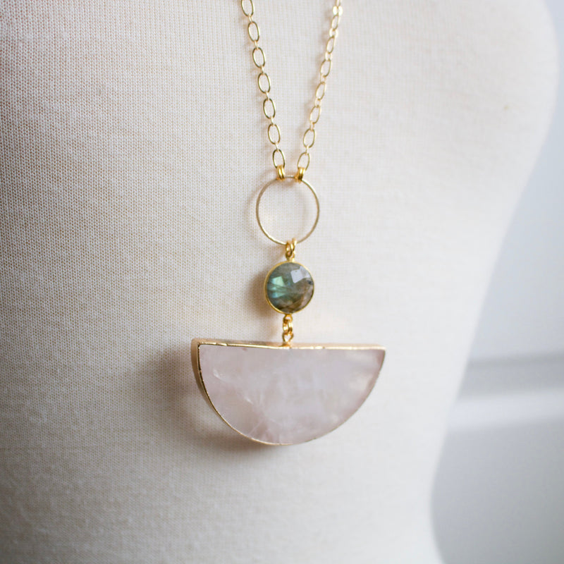 Half Round Quartz and Labradorite Necklace
