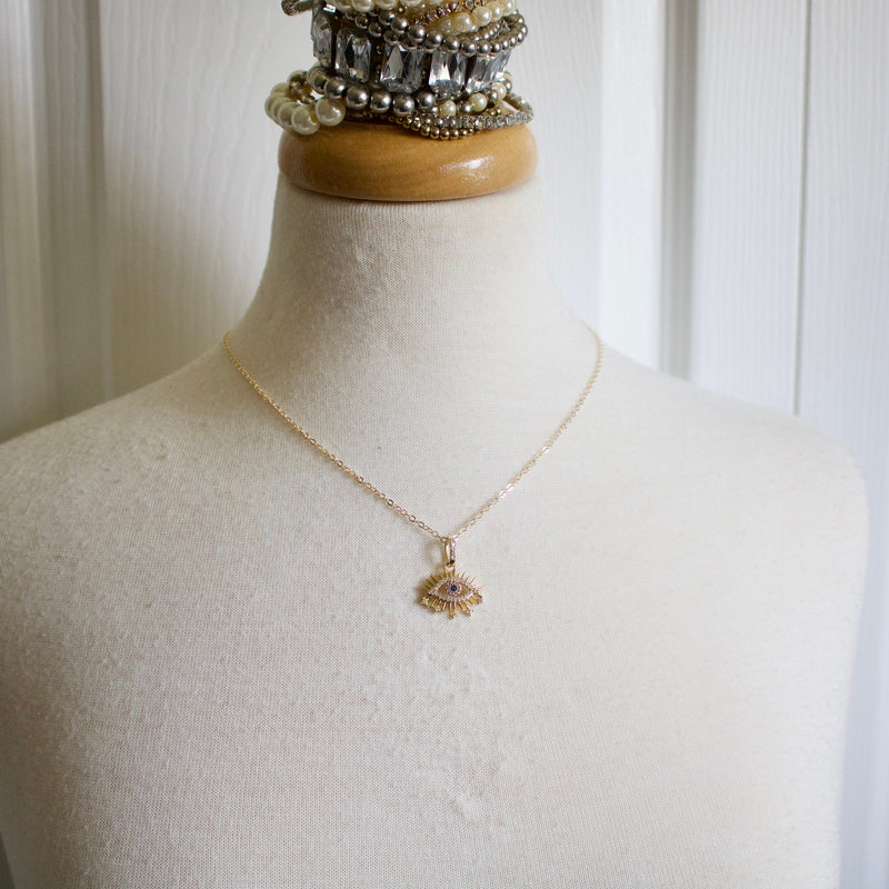 Evil Eye Rhinestone Necklace