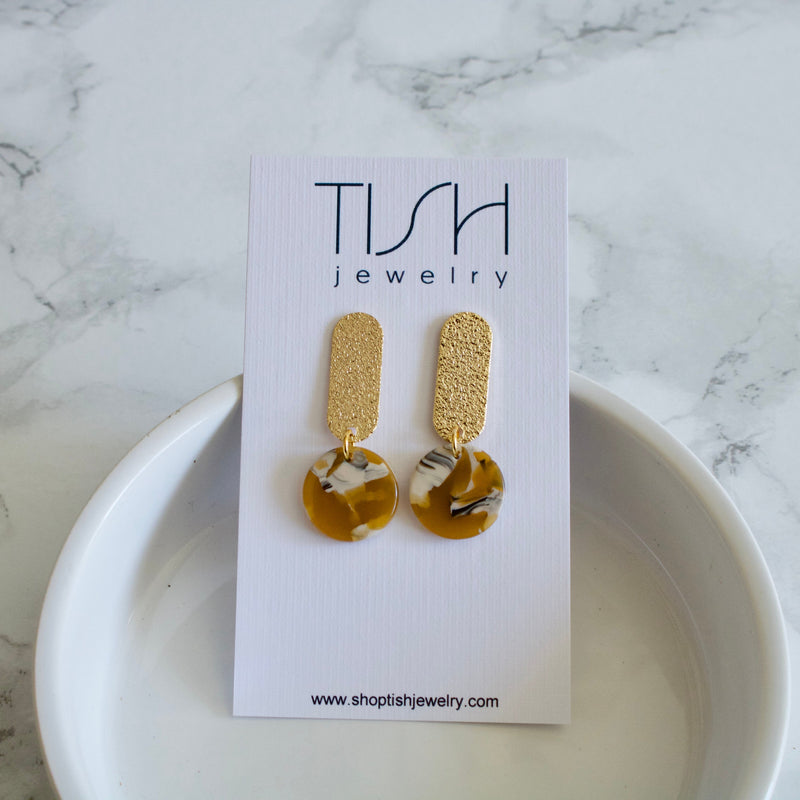 Tessa Mustard Resin Earrings