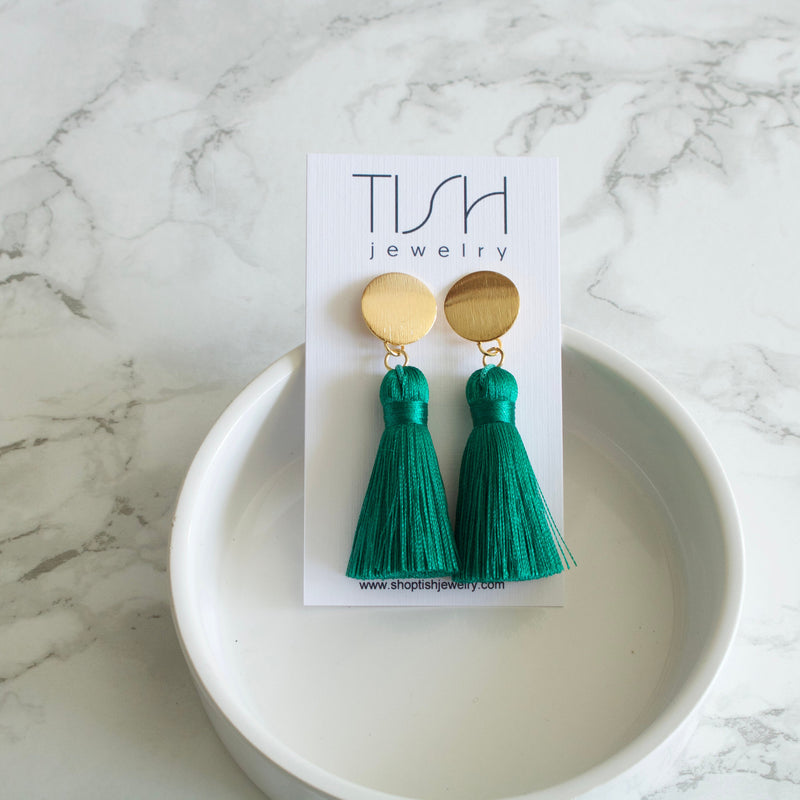 Evergreen Tassel Earrings