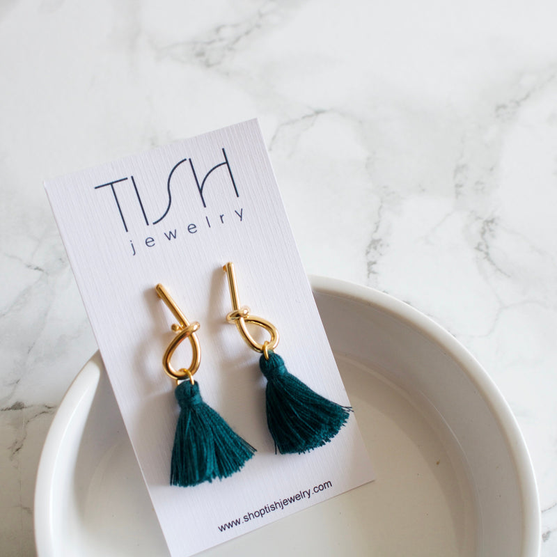 Mia Teal Tassel Earrings