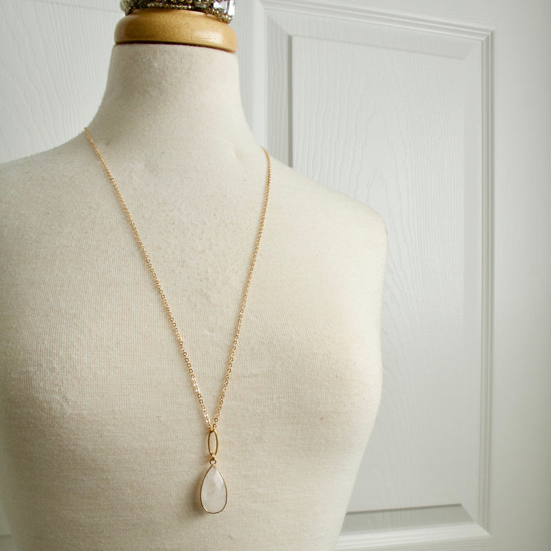 Athena Quartz Teardrop Necklace