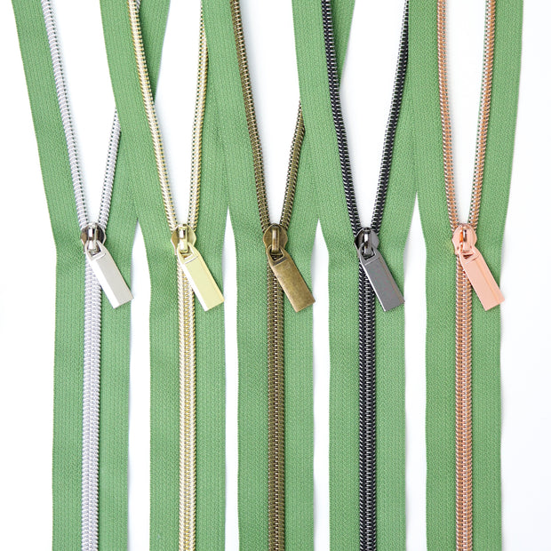 Magnolia #5 Nylon Coil Zippers: 3 Yards with 9 Pulls