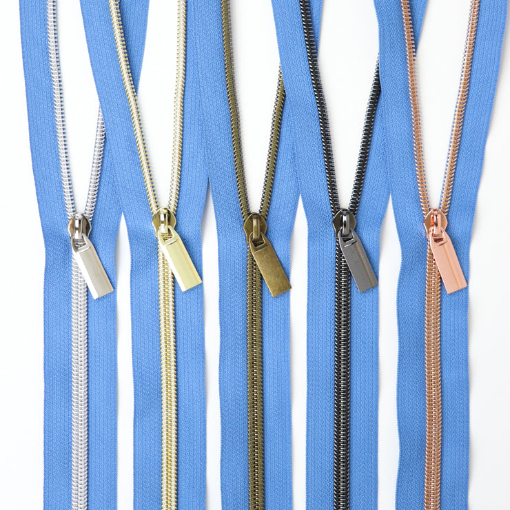 Blue Jean #5 Nylon Coil Zippers: 3 Yards with 9 Pulls