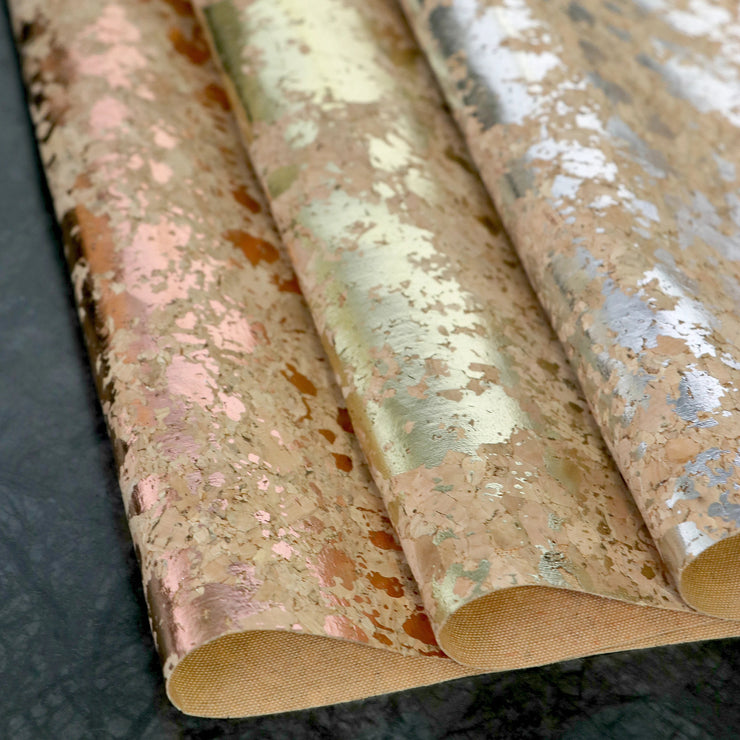 PRO Lite Natural Silver Splatter Cork Fabric By the Inch